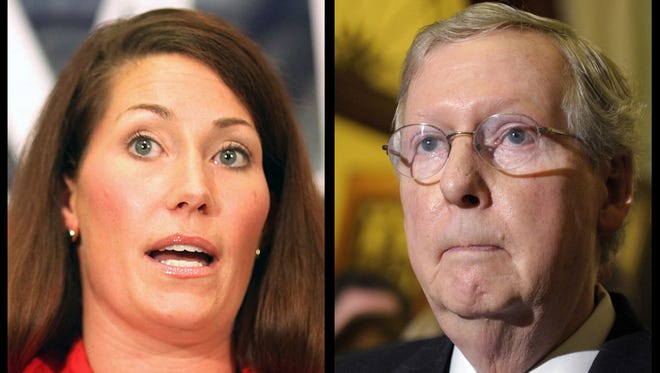 Alison Lundergan Grimes and Mitch McConnell