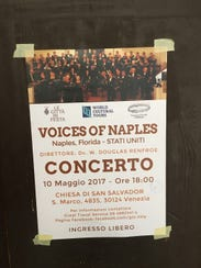 A poster advertises the coming concert by Voices of