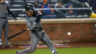May 19, 2018: Arizona Diamondbacks catcher John Ryan Murphy (36) hits an RBI single in the second inning against the New York Mets at Citi Field.