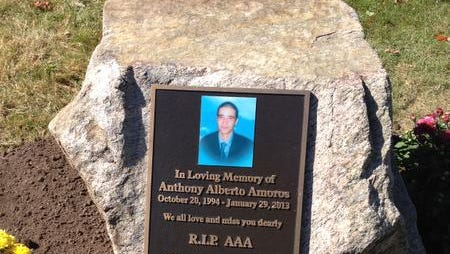 A plaque will be dedicated at Philip J. Memorial Golf Course in memory of Anthony Amoros, who died in a car crash in 2013. The plaque dedication will be coincided with naming of Thiells-Mount Ivy Road, which will be also known as ÒAnthony Amoros WayÓ starting Saturday.