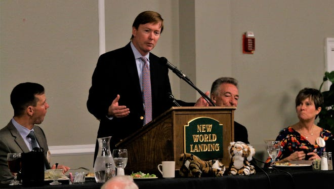 Adam Putnam speaks to the Tiger Bay Club at Skopelos at New World Landing in Pensacola on Wednesday, Jan. 31, 2018.