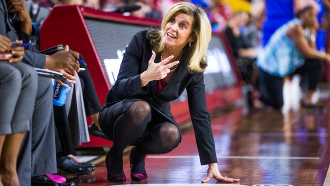 Arizona State head coach Charli Turner Thorne talks to her team during second half action against Buffalo at Wells Fargo Arena in Tempe, Saturday, December 2, 2017.