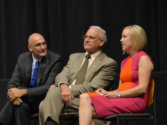 From left, Steve Costello, president and CEO of the BMO Harris Bradley Center, Ted Kellner, Bradley Center board chairman, and Sarah Zimmerman, Bradley Center board member and granddaughter of Jane Pettit. They appeared at an event Tuesday outlining plans for the final year of the Bradley Center operations.