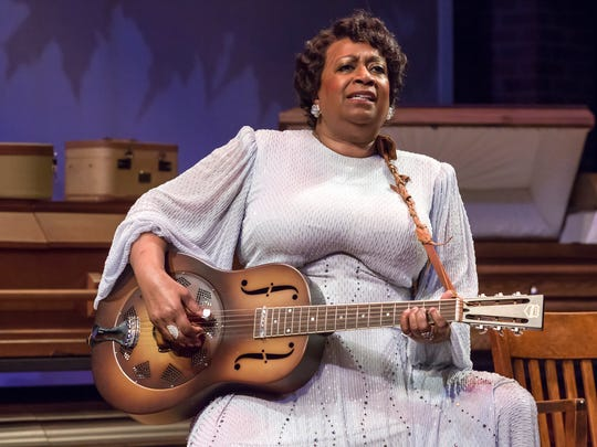 """Miche Braden stars as Sister Rosetta Tharpe in the Playhouse in the Park's production of """"Marie and Rosetta."""" The musical play features many of the songs Tharpe performed throughout her long career, including """"This Train,"""" """"I Want a Tall Skinny Papa"""" and """"Four or Five Times."""" The production runs in the Marx Theatre through March 31."""