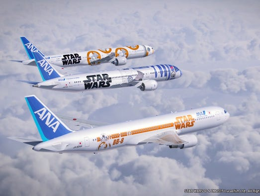 An rendering showing all three of ANA's Star Wars-themed