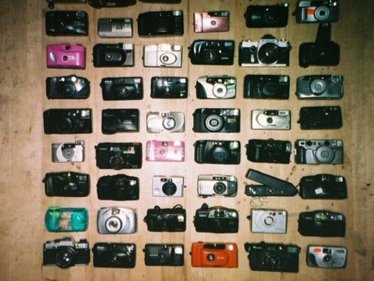 Some of Luke Guidici's collection of cameras.