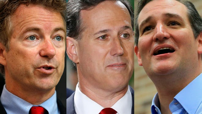 From left: Sen. Rand Paul, R-Ky., former GOP senator Rick Santorum of Pennsylvania and Sen. Ted Cruz, R-Texas.
