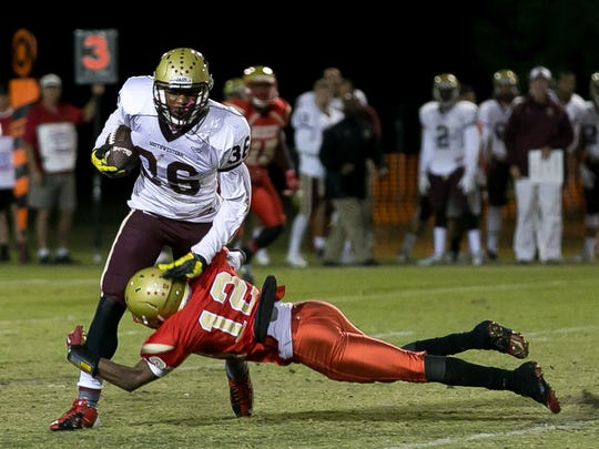 College of the Desert's Corey Dalton (No. 12) tackles