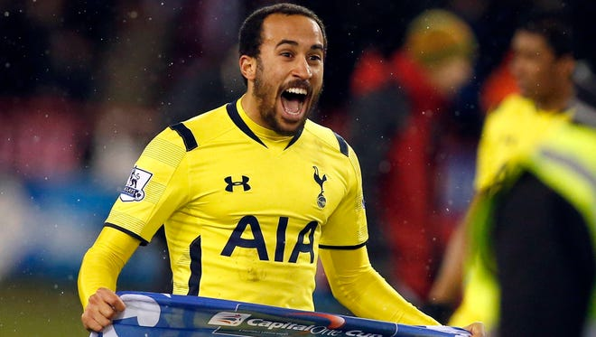 Tottenham Hotspur's Andros Townsend celebrates after their Capital One Cup semi-final second leg soccer match against Sheffield United.