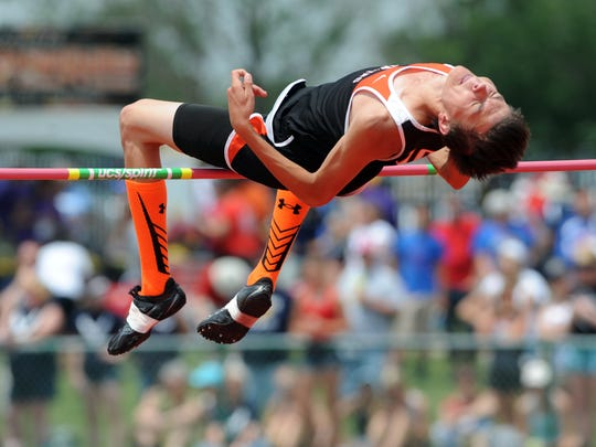 Gibsonburg's Jacob Kiser competes in the high jump at the state track and field meet in Columbus last season.