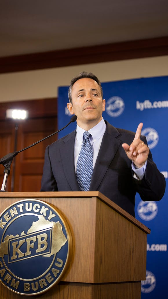 Republican Matt Bevin takes questions from the media following the Farm Bureau debate at the Kentucky Farm Bureau in Louisville.  The debate posed questions to the candidates about farming policy around the state.