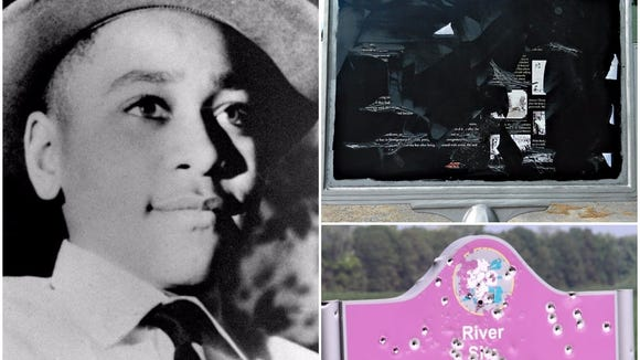 The historical sign honoring Emmett Till, vandalized