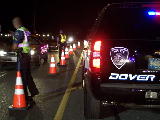 A multijurisdictional checkpoint in Dover in 2011. The upcoming DUI enforcement checkpoints are scheduled to start Memorial Day weekend.