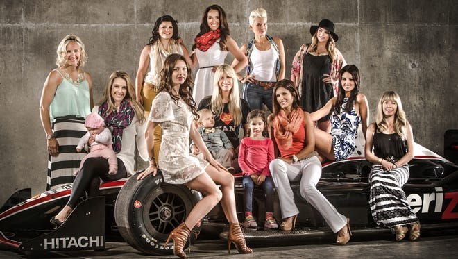 Standing left to right: Heather Carpenter, Kathleen Thompson, Nicole Pollard, Bronte Tagliani, Hailey McDermott. Seated, left to right: Nicole Briscoe and daughter Finley, Emma Dixon, Beccy  Hunter-Reay and son Ryden, Adriana Henao and daughter Mikaella, Kirsten Dee, Kristin Paine.