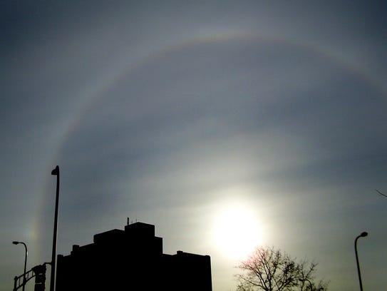 A solar optical effect called a circular halo was visible