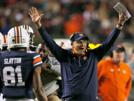 Gus Malzahn led his Auburn team to an upset of Georgia