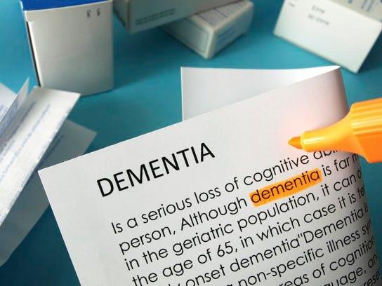 'Dementia' highlighted in orange