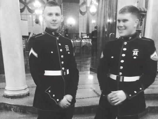 Marine Lance Cpls. Alex Sheffer, left, and Korey McNees,