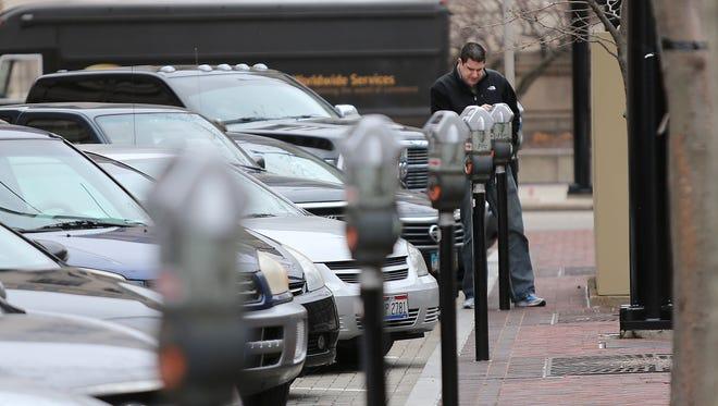 Parking meters in downtown Cincinnati