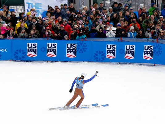 Ben Loomis reacts after competing in the ski jumping portion of the Nordic Combined at the U.S. Olympic Team Trials, Saturday, Dec. 30, 2017, in Park City City. (AP Photo/Rick Bowmer)