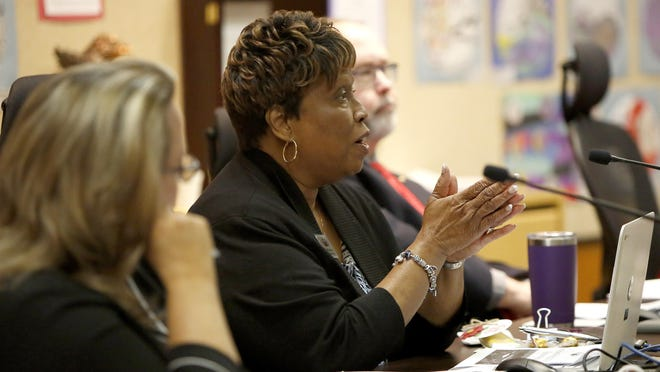 Alachua County School Board member Leanetta McNealy speaks at a Dec. 17 meeting.