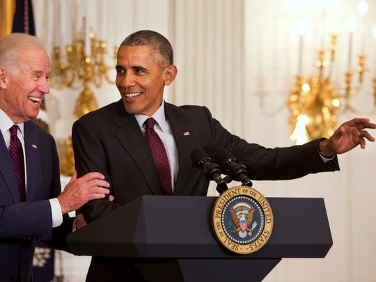 Vice President Joe Biden jokes with President Barack