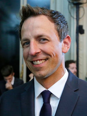American talk show host Seth Meyers poses for photographers prior to Valentino men's Spring-Summer 2015 fashion collection presented in Paris on June 25, 2014.