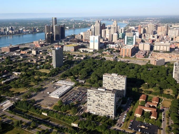 Detroit's Lafayette Park, foreground,  has been designated