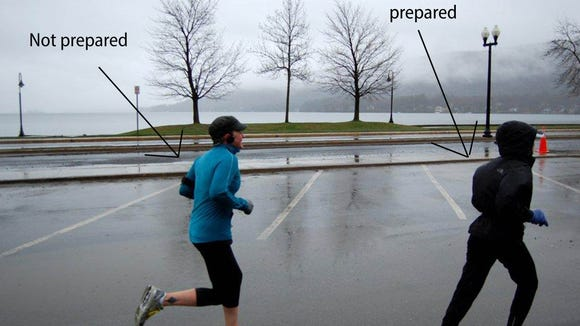 My first half-marathon in Lake George, New York, where I was wildly unprepared for the snow, rain, and ice. Guess which one is me?