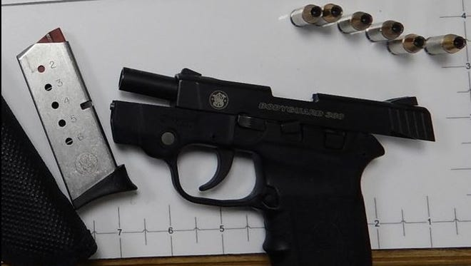 this Smith and Wesson .380 pistol was found by TSA agents in a carry-on bag.