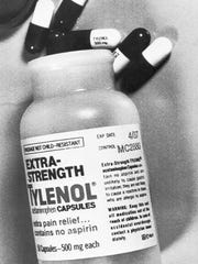 This is a bottle of Extra-Strength Tylenol from the same lot, number MC 2880, found to have caused cyanide poisoning in three people in the Chicago area, shown Sept. 30, 1982.