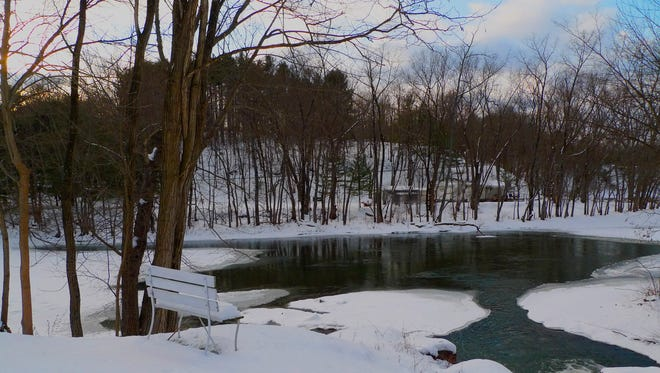 winter scenics of snow,lakes and streams in the Hudson Valley,NY