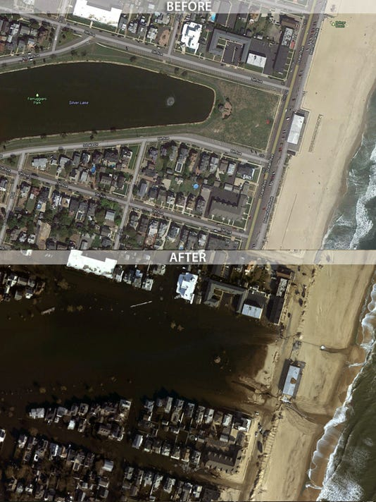 Belmar before and after Sandy