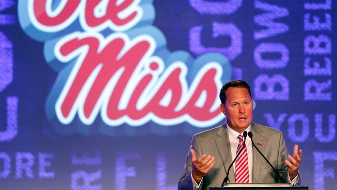 Coach Hugh Freeze speaks at the Southeastern Conference Media Days on Thursday. He joked about the designation of neutral site for Ole Miss' matchup against Florida State in Week 1.