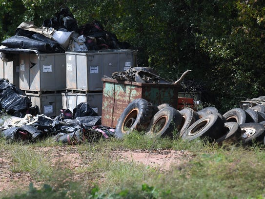 Used tires remain on the property of Viva Recycling