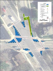 """Increases in off-street pedestrian space (in blue) is shown in this drawing of a potential demonstration traffic """"pop-up"""" for the intersection of South Winooski Avenue and Howard and St. Paul streets."""