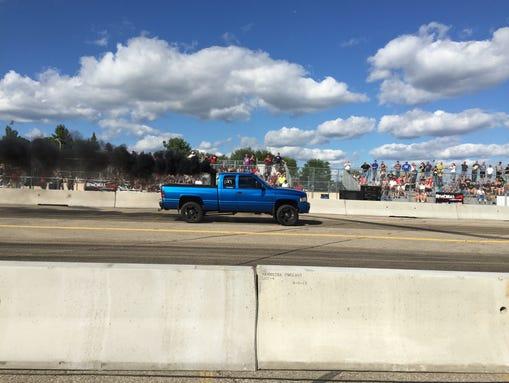 """A 2001 Dodge Ram heavy duty pickup drag racing at """"Roadkill"""
