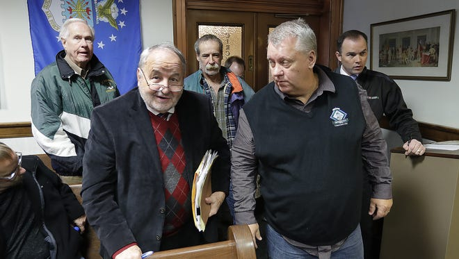 Green Bay aldermen Guy Zima and Tom De Wane were in court at the Brown County Courthouse to watch mayor Jim Schmitt plead guilty to campaign finance irregularities Monday, December 5, 2016.