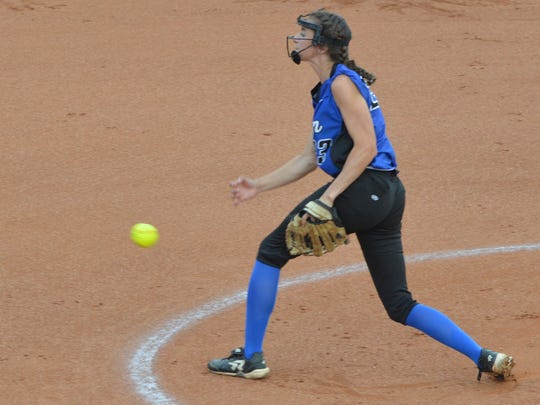 Slocum's Jalyn Fletcher throws a first-inning pitch in Saturday's Class 1A state championship game at McCombs Stadium in Austin. Fletcher scattered six Hermleigh hits in a 10-0 mercy rule win.