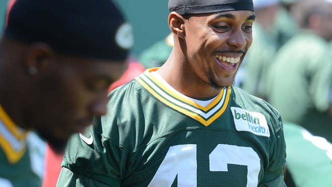 Green Bay Packers safety Morgan Burnett (42) during Organized Team Activities at Clarke Hinkle Field June 10, 2015.
