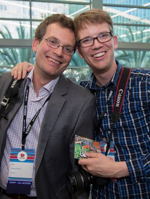 John Green (left) and Hank Green pose for a photo during the 2013 edition of VidCon in Anaheim, Calif.