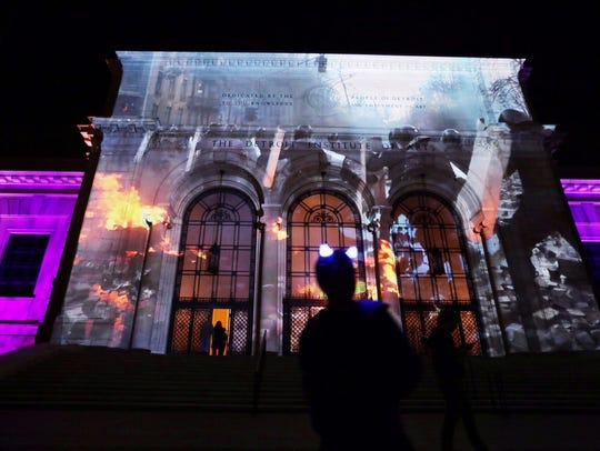 Video projected on the Detroit Institute of Art during