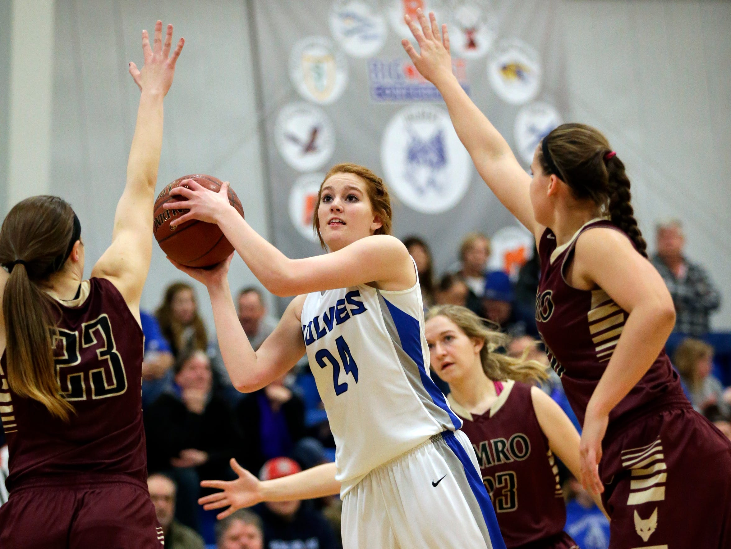 Hilbert High School's April Gehl (24) returned to the
