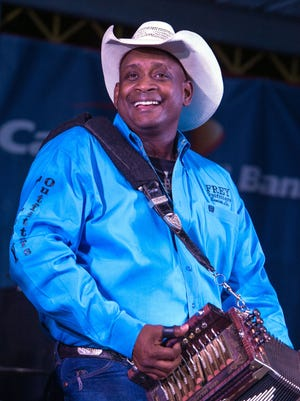Zydeco veteran Geno Delafose performs Saturday at the Shelter Shindig in Opelousas.