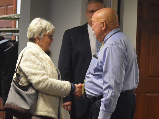 Former Methodist Hospital Union County Administrator Pat Donahue greets Janice Griggs at the reception held at United Community Bank on January 19. The reception allowed members of the community to meet Lynn Renee Stenwachs, the new Vice President and Administrator at Methodist Hospital Union County.