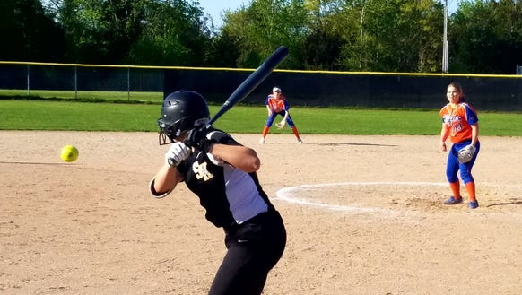 South Kitsap's Statia Cermak takes a pitch during Wednesday's