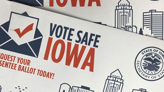 The 2020 Iowa election absentee ballot request form are shown.