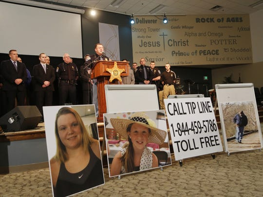 Capt. David Bursten of the Indiana State Police is joined by law enforcement officials from numerous departments to provide the latest details of the investigation into the murders of Liberty German and Abigail Williams Wednesday, February 22, 2017, at Delphi United Methodist Church in Delphi. German and Williams murdered last week as they hiked the Monon High Bridge Trail just east of Delphi. Police released an audio clip believed to be that of the girl's killer taken from Liberty German's cellphone.