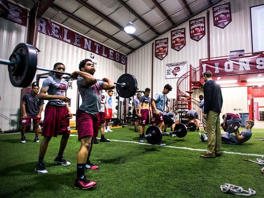 Prattville High School football players during weight training at the school in Prattville, Ala. on Wednesday April 4, 2018.
