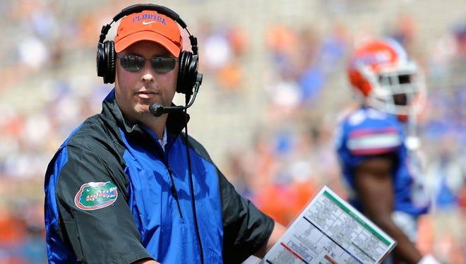 Kurt Roper at the University of Florida's spring football game.